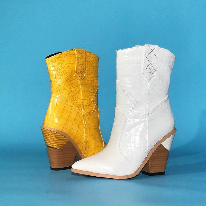 Western ข้อเท้ารองเท้าสำหรับสตรีรองเท้าคาวบอยรองเท้าส้นสูง Chunky รองเท้าฤดูใบไม้ร่วงฤดูหนาวรองเท้าผู้หญิงสีดำสีเหลืองสีขาวรองเท้าผู้หญิง 2019-ใน รองเท้าบูทหุ้มข้อ จาก รองเท้า บน AliExpress - 11.11_สิบเอ็ด สิบเอ็ดวันคนโสด 1