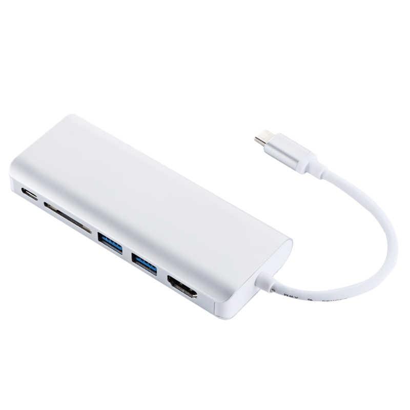 6In1 USB 3.0 ประเภท-C HUB Multiport อะแดปเตอร์ HDMI Rj45 Converter SD/TF Card Reader สำหรับ MacBook Pro google Chromebook