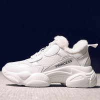 SWYIVY Genuine Leather Chunky Sneakers Shoes Women White Casual Shoes Women Sneakers 2019 Winter Platform Snow Shoe Plush Fur