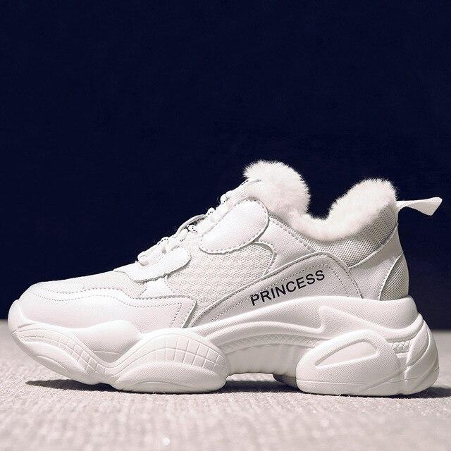 Swyivy chunky white sneakers 여성 캐주얼 신발 여성 운동화 2019 따뜻한 겨울 패션 가죽 플랫폼 snow ladies shoe plush