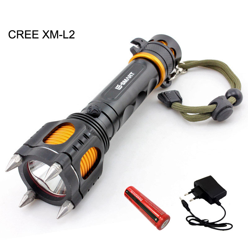 CREE XM L2 Tactical led flashlight multi-function defensive flash light lampe torche with 18650 battery + charger for hunting