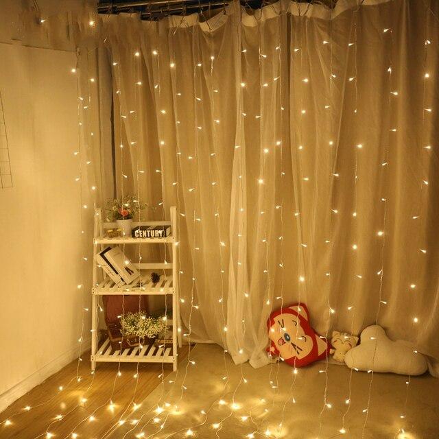 Eu/us Plug 220v 110v New Year Holiday Decoration Flexible Window Lighting Christmas 3*3 Led Curtain Light String Wedding Partyeu