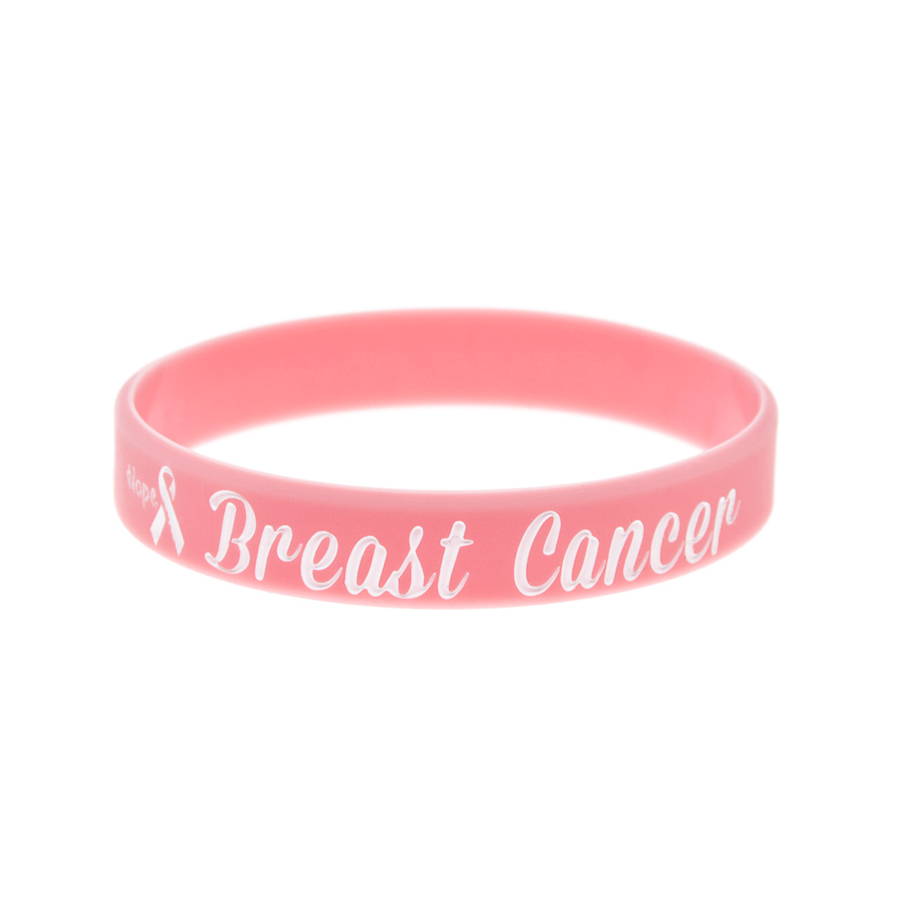 Image 4 - OneBandaHouse 50PCS/Lot Motivation Bracelet Hope Ribbon Breast Cancer Awareness Silicone Wristband Pink Fashion Arm Band-in ID Bracelets from Jewelry & Accessories