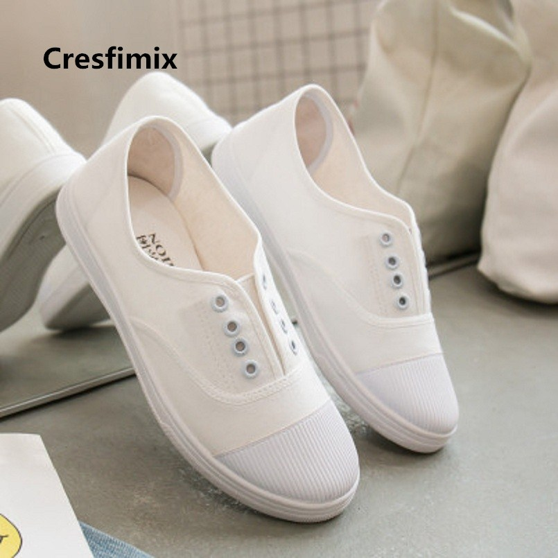 Cresfimix Zapatos de mujer women casual striped lace up shoes lady leisure black & white canvas shoes lady cool shoes a2743 lace up striped blouse
