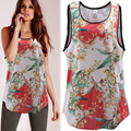 2016 Summer New European Sleeveless T-shirt Loose Plus Size Floral Printed O-Neck Fashion Women t-shirt Clothing