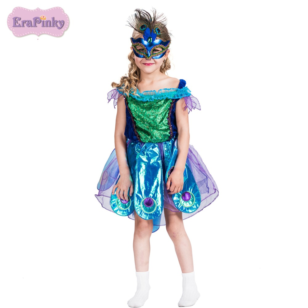 Erapinky fancy dresses for girls 2018 birthday party princess dress green ball gown dress peacock Halloween Costume For Kids erapinky girl dress kids girls backless dress bow lace ball gown party dresses easter dress for girls 8year old child clothes