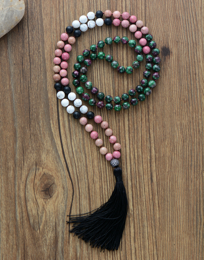 108 Beads Mala Necklace 8MM Natural Stones with Micro Paved Cubic Zircon Tassel Necklace Women Lariat Necklace Yoga Necklace