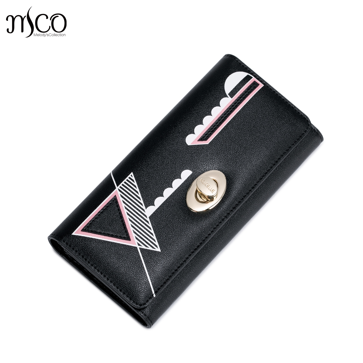 Women's PU Leather Wallets Ladies Foldover Pouch Fashion Clutch Handbags Geometric Lock long Purse Female Elegant Card Gift box