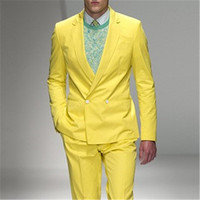 2018 latest coat pants designs yellow men suits for wedding ball classic blazer jacket double breasted slim fit suit 2 pieces