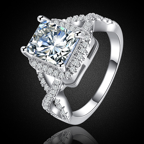 Модные новые женские Принцесса Cut Циркон Bague Свадебная вечеринка Promise Ring США 6-8 a52h
