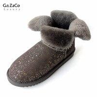 Clover Flower Pearl Wove Short Sheepskin Snow Boots Natural Wool Inside Waterproof Winter Boots Women Sweet