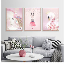 Watercolor Pink Unicorn Deer Rabbit Swan Canvas Art Prints Girls Room Decor Nordic Cartoon Animals Painting Wall Pictures