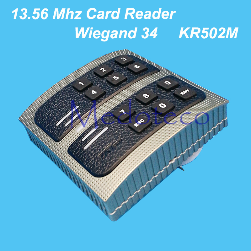 Waterproof IP65 13.56mhz IC Card & Password Slave Reader Wiegand 34 MF Card Reader for Door Access Control System waterproof ip65 13 56mhz ic card