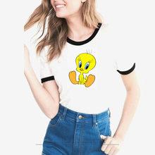 14e3de5a35 Mulheres tshirt dos desenhos animados Looney Tunes Tweety Pássaro imprimir  camiseta moda feminina verão bonito camiseta feminina.