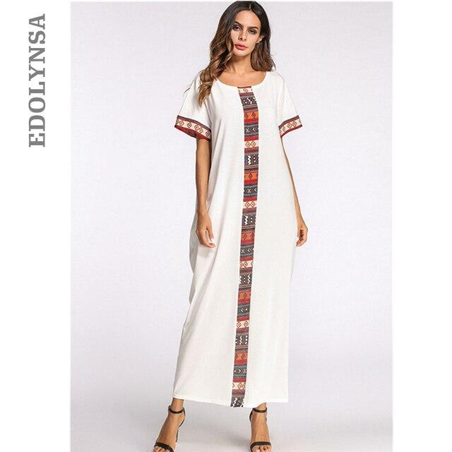 White Patchwork Summer Maxi Dress O Neck Short Sleeve Caftan Long Robe  Gowns Indonesia Turkish Moroccan Kaftan Beach Tunic D479 7a16a4c2b