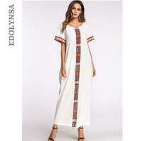 White Patchwork Summer Maxi Dress O Neck Short Sleeve Caftan Long Robe Gowns Indonesia Turkish Moroccan Kaftan Beach Tunic D479