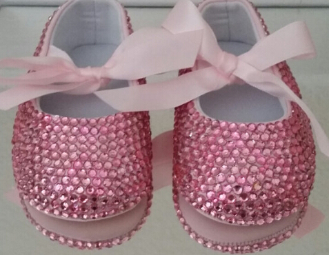 free shipping rhinestone Crystal Baby Girl Lovely pink ribbon Child shoes handmade Bling diamond First Walkers bead soft shoes