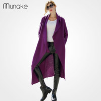 2016 Wool Fashion Sweater Women Casual Maxi Cardigan Coat Long Sleeve Turn Down Collar Trench Autumn