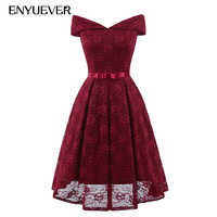 Enyuever White Lace Dress Pink Women Clothing Autumn 2018 Vestido Vintage Off Shoulder Casual Midi Elegant Wedding Party Dresses
