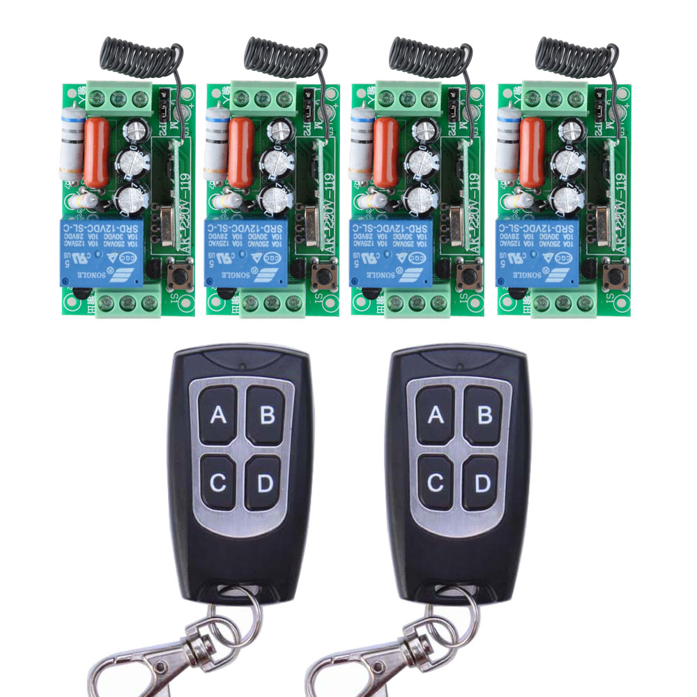 AC 220V 10A Wireless Remote Control Wireless Light Switch System 4 Receiver 2 Transmitter Light Lamp LED SMD ON OFF 220v ac 10a relay receiver transmitter light lamp led remote control switch power wireless on off key switch lock unlock 315433