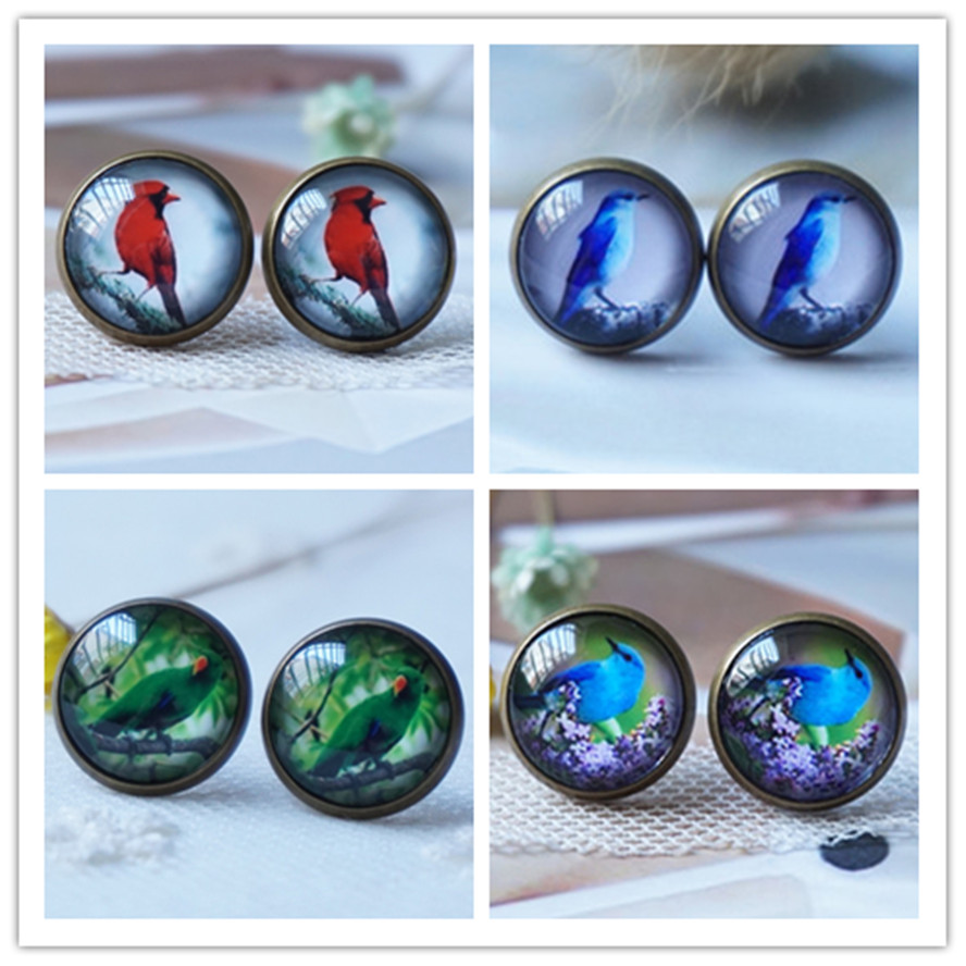 Women Bird Earring Vintage Glass Earring for woman cute Cabochon Stud Earring dropshipping 12 mm