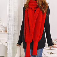 Women Men Knitted Scarf Cape Solid Scarf Sleeve Crochet Knit Scarves Shawls Long Winter Shawl