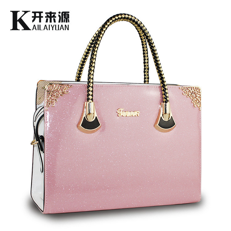 ФОТО Handbag Ma'am Bag 2016 New Pattern Woman Package Sweet Lady Light Noodles Patent Leather Pearl Light Jelly Package