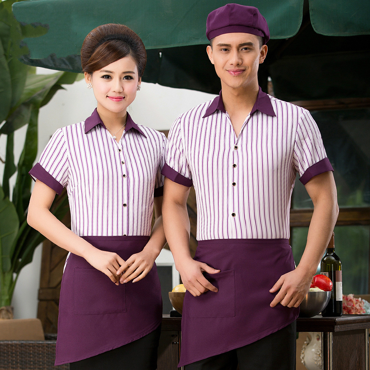 44797618e72 Summer Coffee Shop Waiter Uniform Restaurant Waitress Shirt + Apron Work  Wear Sets Hotel Fast Food Service Staff Clothing 89-in Chef Jackets from  Novelty ...