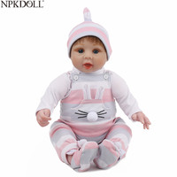 NPKDOLL 22 Inch Baby Reborn Doll Vinyl Surprise Gift For Girls 55 CM Realistic Soft Silicone Material Cute Playmate for Kids
