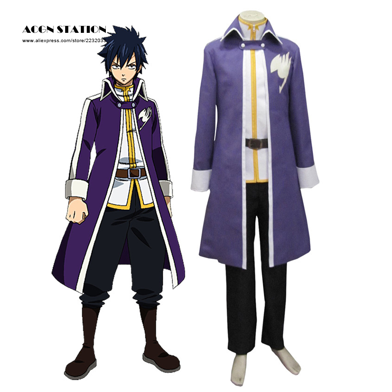 2018 ACGN Station Free Shipping High Quality Purple Anime Fairy Tail Gray Fullbuster Team Brand Cosplay Costumes