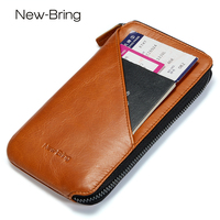 NewBring Genuine Leather Wallet Long Purse For Men Women Coin Purse Card Holder Clutch Wallet Large Capacity Phone Pocket Lady