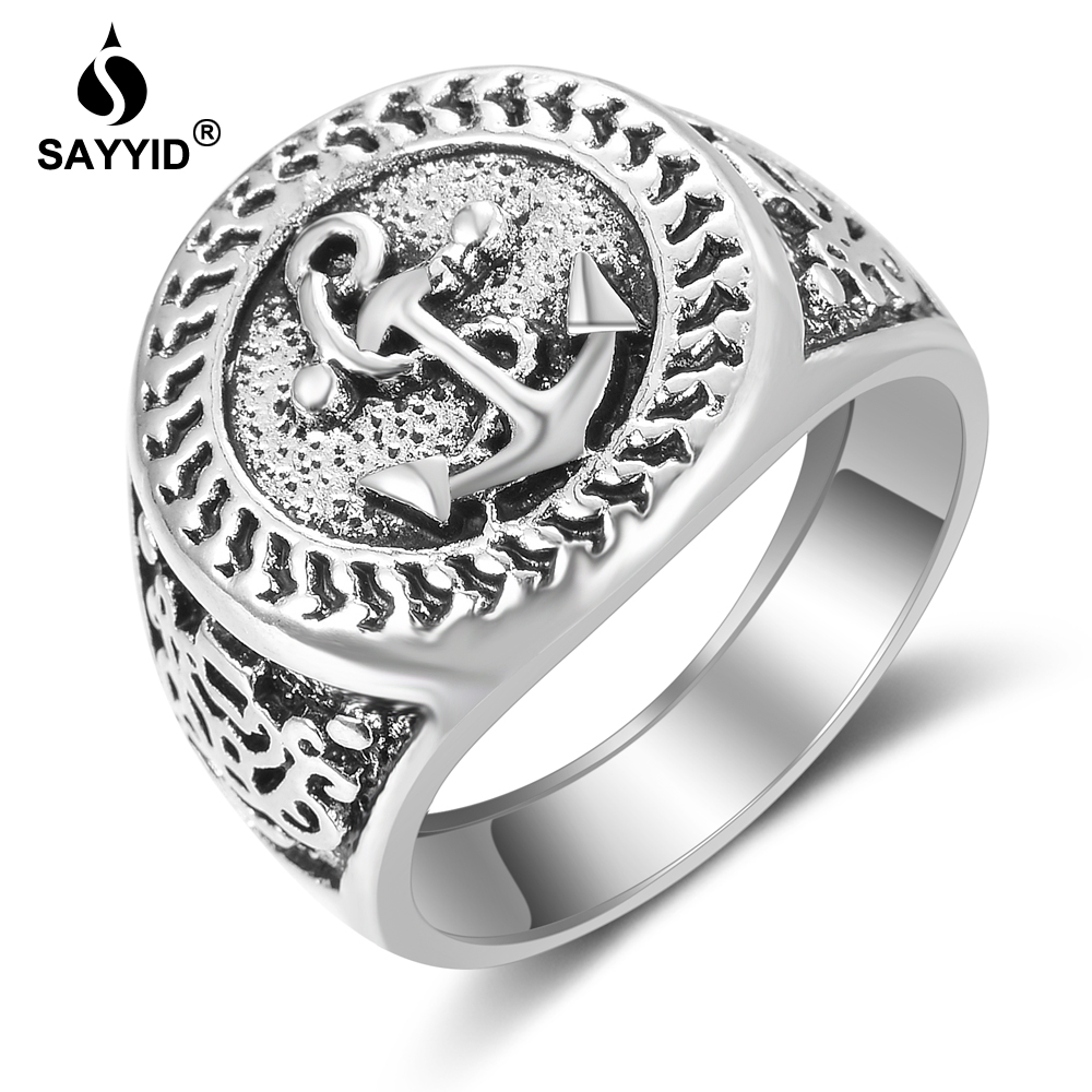 SAYYID Vintage Wind Ring for Men Plated Ancient Silver Anchor Ring Gift Fashion Ring Jewelry R1818OP in Rings from Jewelry Accessories