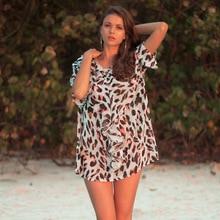 ede538efca Beach Robe Coverups For Women Dresses Pareo Tunic Short Kaftan Cover Up  Leopard Women's Summer Swimsuit