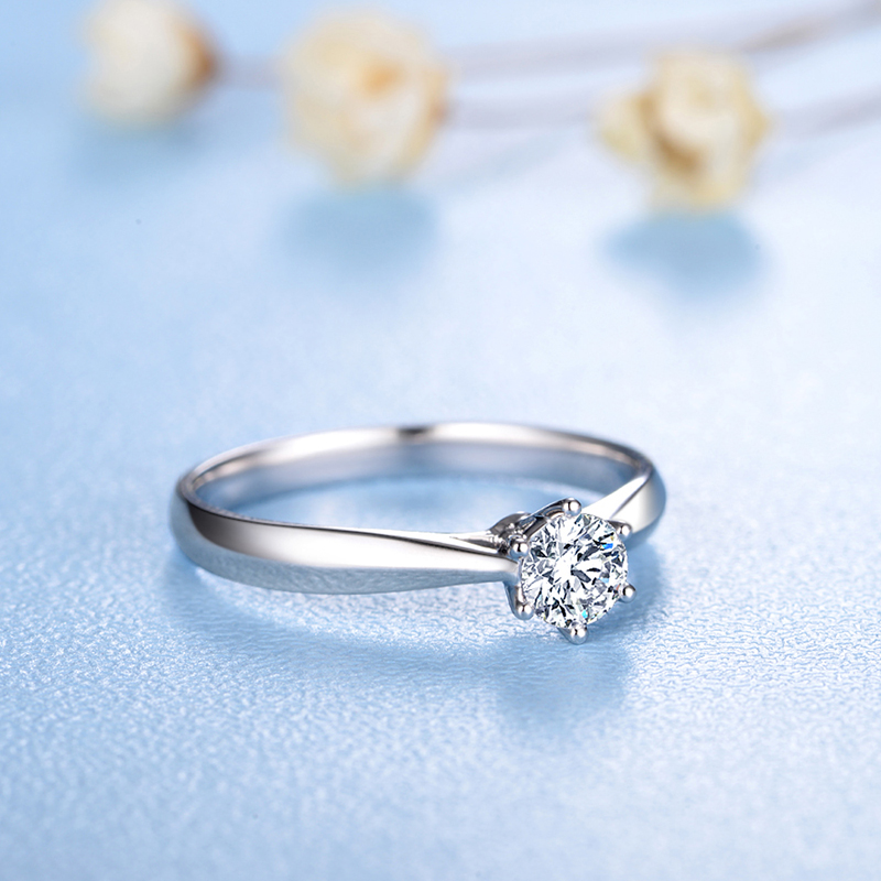 ZOCAI Abad Klasik Nyata 0.18 CT D-E / SI Berlian Engagement Wanita - Perhiasan bagus - Foto 4