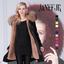 Hot Sale Brand Winter New Women Black Shell Parka Jacket Coats Thick Real Raccoon Fur Collar Hooded Fur Lining Long Version