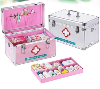 10 zoll-16 zoll aluminium hause medizinische kit multi-stöckige krankenhaus verwenden apotheke medizinische fall tragbare medikament lagerung box