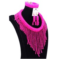 Fuchsia Pink African Beads Jewelry Sets Crystal Nigerian Wedding Beads Set Choker Design Costume Women Dubai jewelry Set 2018