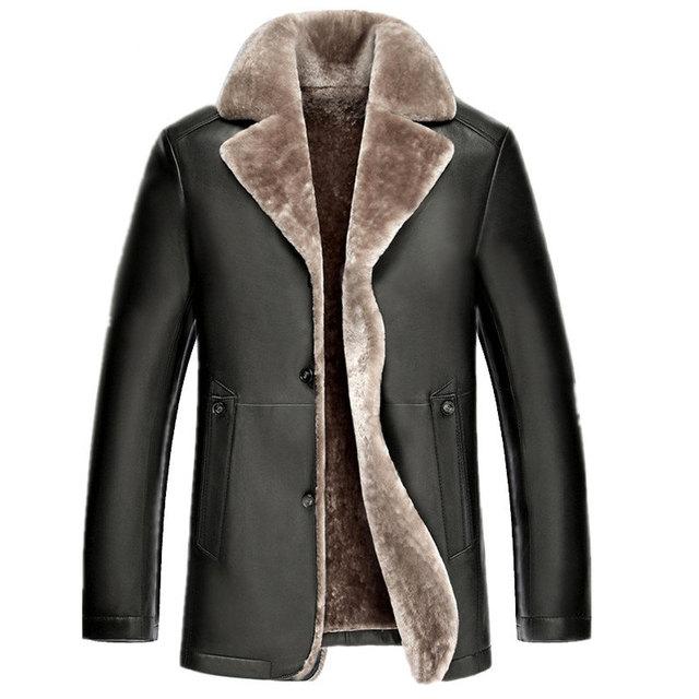 De los nuevos hombres de párrafo largo solapa genuina masculina de cuero de piel de piel de oveja más tamaño color sólido abrigo prendas de vestir exteriores de lana de cordero MZ1149