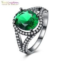 Wedding Oval Green Cubic Zirconia Black Gold Color Engagement Rings For Women