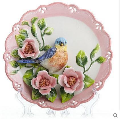 Blue Magpie dekorativa väggdiskar porslin dekorativa tallrikar - Heminredning