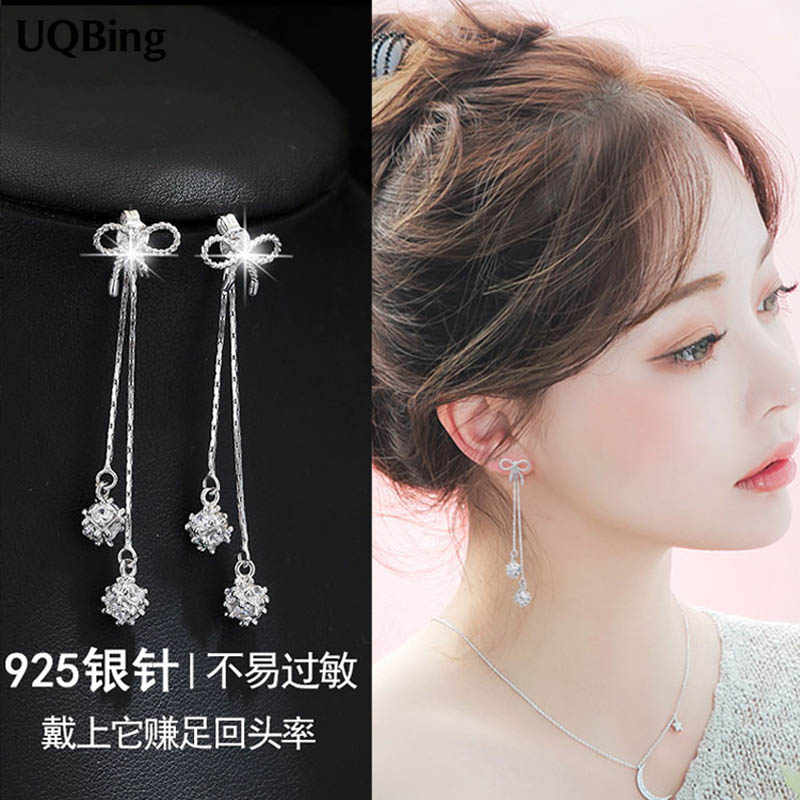 2018 New Arrivals Free Shipping Fashion 925 Sterling Silver Crystal Bowknot Stud Earrings For Women Jewelry