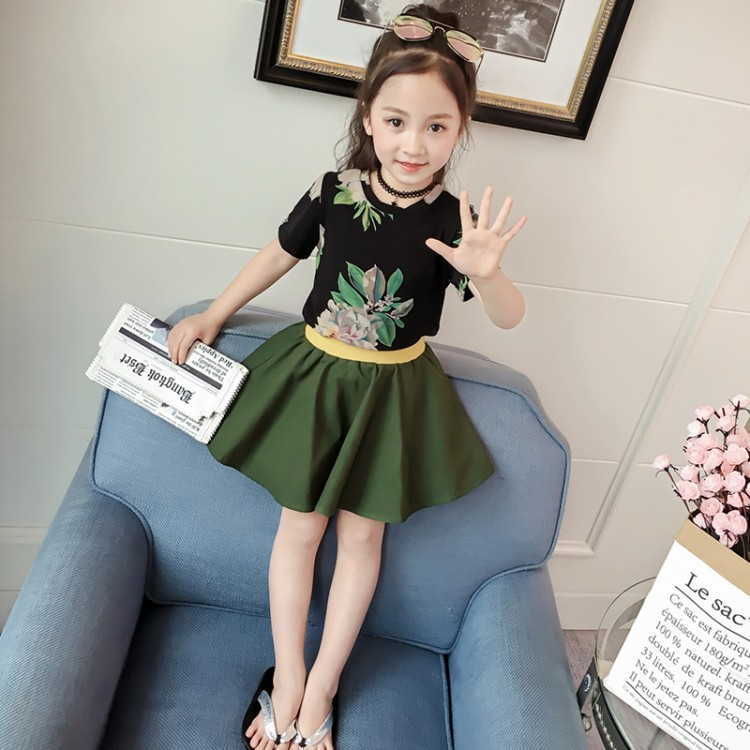 summer new fashion baby print t shirt skirt 2pcs sets girls tops umbrella skirt child clothing children clothes set 2pcs children outfit clothes kids baby girl off shoulder cotton ruffled sleeve tops striped t shirt blue denim jeans sunsuit set