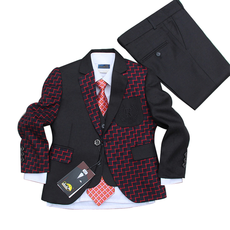 Boys Black Wedding Tuxedo Suits 2-15 Years Children Prom Suits Kids Wedding Clothes Page Boy Suit 2 tuxedo