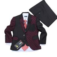 Black Wedding Suit For Boys Blazers Jacket Set 2016 Christmas Gift Kids Tuxedo Suits 3 Pieces