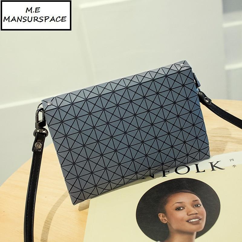 MANSURSPACE Women Plaid Laser Bag Geometric Chain Shoulder Bags Mini Casual Clutch Bao Bao Crossbody Bags Women Messenger BaoBao