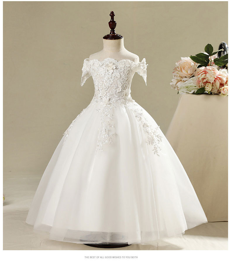 Beaded Appliques Girls Dresses Kids Formal Birthday Party Dress For Wedding Lace Princess Gown Flower Girl