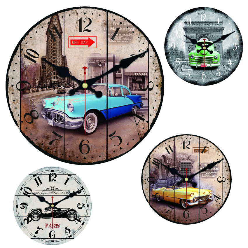 Paris Old Car Large Decorative Round Wall Clock Living Room Decor Saat Fashion Silent Vintage Watch New Year Gift Cool In Clocks From Home