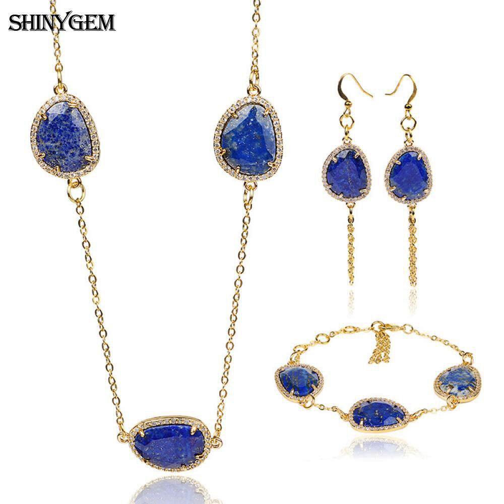 ShinyGem Natural Stone Jewelry Set 15x24mm Irregular AAA Lapis Lazuli Bridal Jewelry Set Bracelet Necklace Earrings