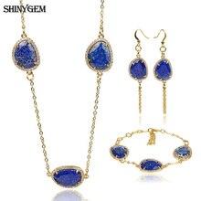 ShinyGem Natural Stone Jewelry Set 15x24mm Irregular AAA+ Lapis Lazuli Bridal Jewelry Set Bracelet/Necklace/Earrings Jewelry Set серьги висячие e1269 aaa stone jewelry