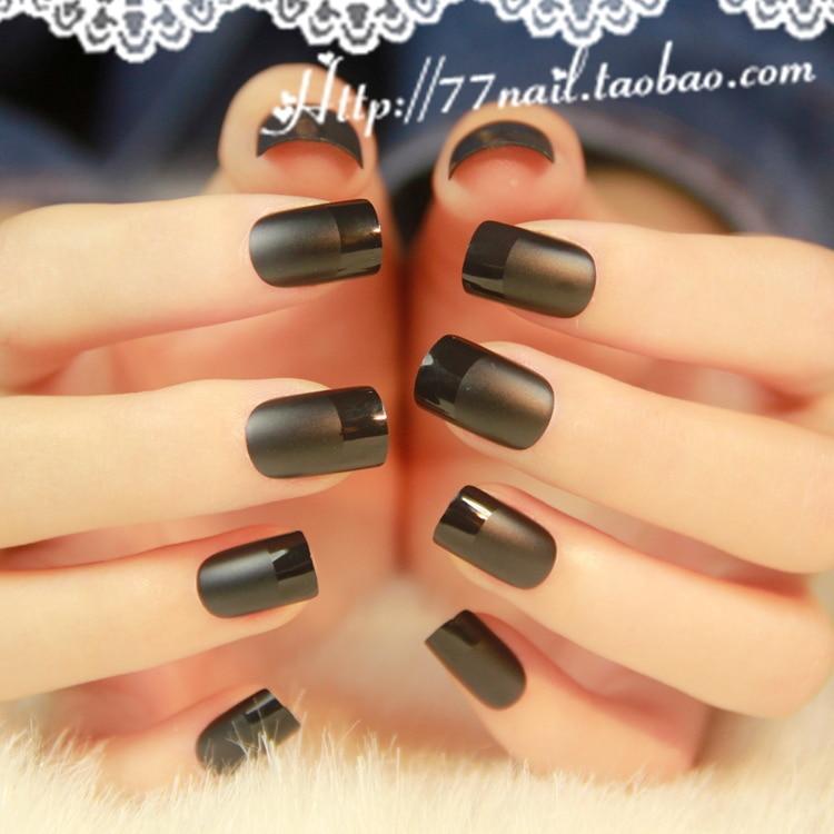 High quality Matte black color false nails set Short size full ...